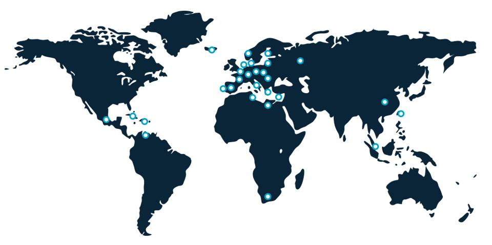 Mapa mundi exportaciones Dabedan